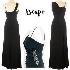 Xscape Black Evening Gown Rhinestone one shoulder